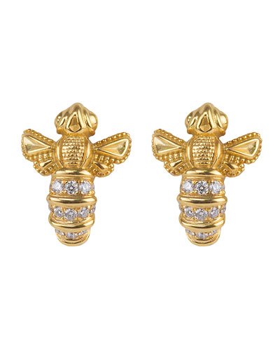 18k Yellow Gold Bee Stud Earrings w/ Diamonds
