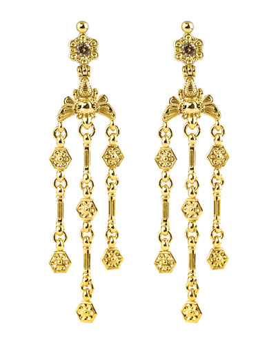 18k Yellow Gold Brown Diamond Bee Dangle Earrings