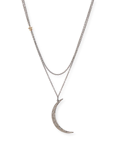 Diamond Crescent Moon & Star Pendant Necklace