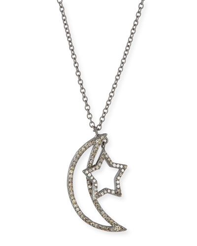 Diamond Moon & Star Pendant Necklace