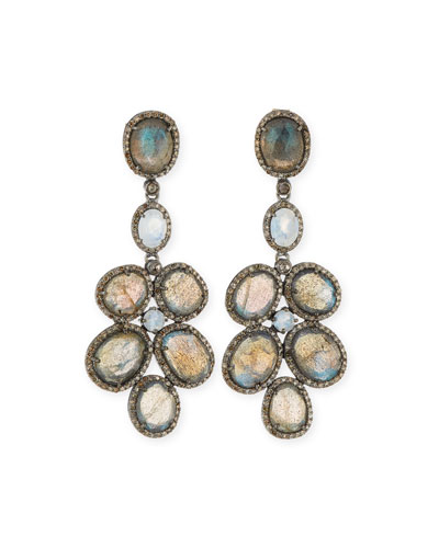 Labradorite & Diamond Chandelier Earrings
