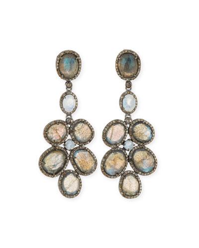 SIENA LASKER LABRADORITE & DIAMOND CHANDELIER EARRINGS