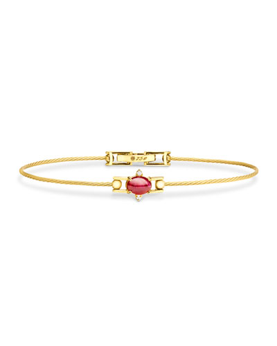 Ruby Cabochon & Diamond Wire Bracelet in 18K Gold