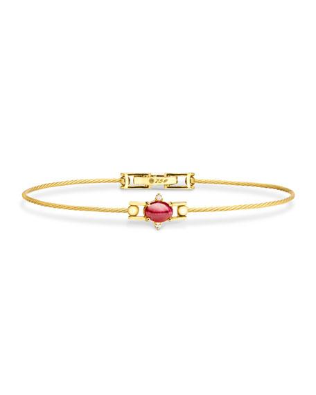 Paul Morelli Ruby Cabochon & Diamond Wire Bracelet in 18K Gold