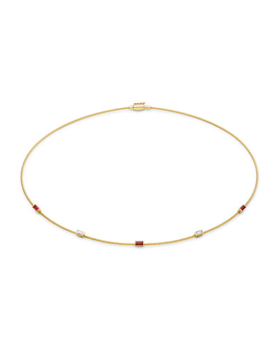 Single Wire Ruby & Diamond Necklace