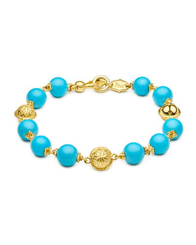 Turquoise Beaded Bracelet in 18K Yellow Gold