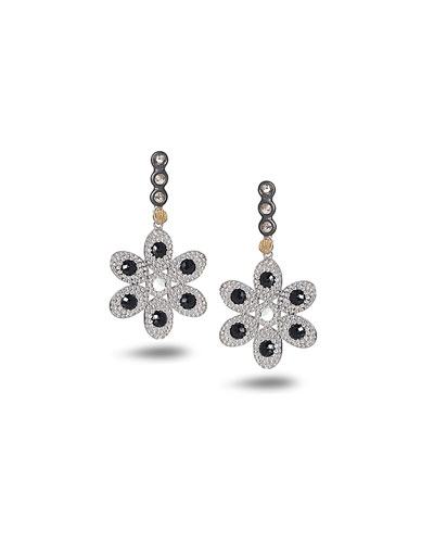 Bessa Black Agate & Diamond Flower Earrings nO5tflNT