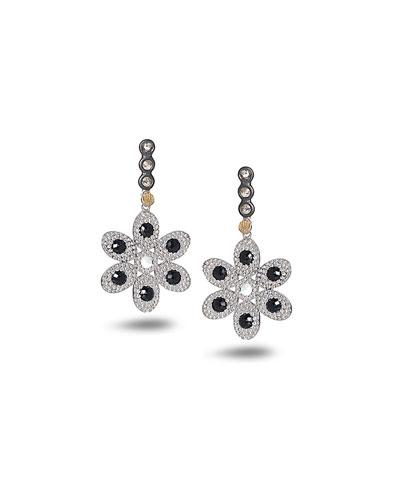 Opera Flower Earrings with Black Spinel & Diamonds