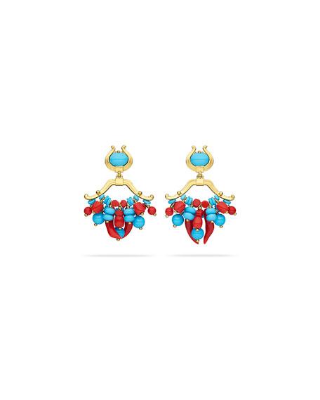 Paul Morelli Turquoise & Coral Double-Dangle Earrings