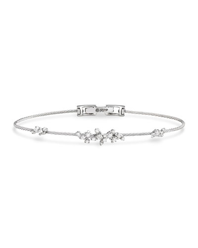 Diamond Confetti Wire Bracelet in 18K White Gold