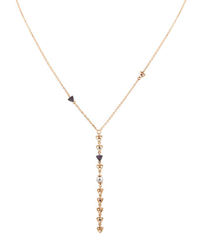 Diamond Triangle & Pearl Lariat Necklace in 14K Rose Gold