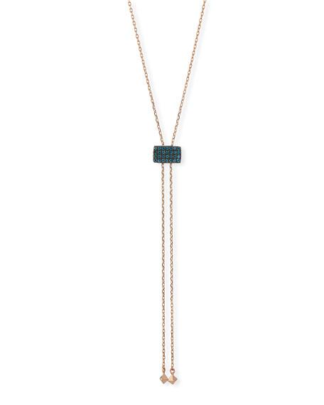 Stevie Wren 14k Geometric Blue Diamond Lariat Necklace