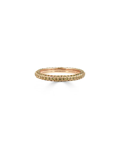 Yellow Sapphire Band Ring in 14K Rose Gold, Size 7
