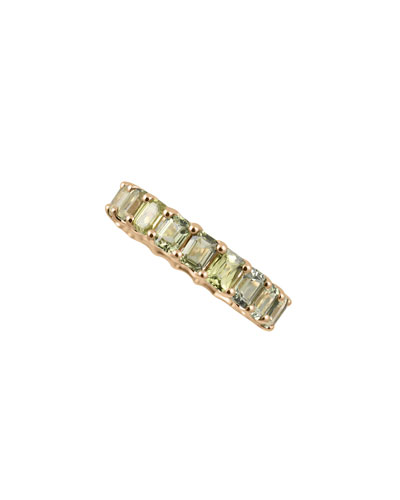 14k Prong-Set Green Sapphire Ring, Size 7