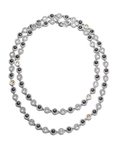 Opera Sterling Silver Necklace with Black Spinel & Diamonds, 36