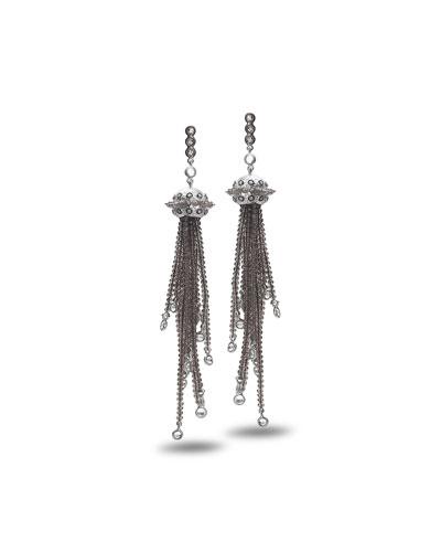 Affinity Smoky Quartz Tassel Earrings with Diamonds