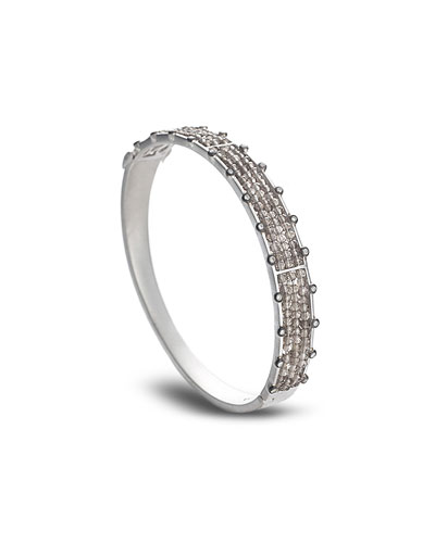 Affinity Sterling Silver Bangle with Smoky Topaz & Diamonds