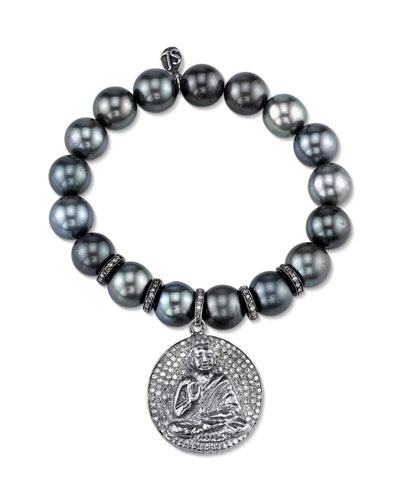 Tahitian Pearl Beaded Bracelet with Diamond Buddha Medallion Charm