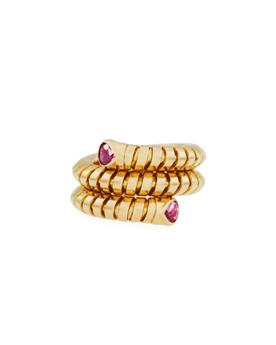 MARINA B TRISOLA 18K YELLOW GOLD RUBY COIL RING, SIZE 6.5