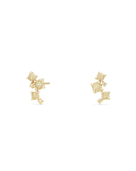 David Yurman Petite Châtelaine 18K Yellow Gold Climber Earrings with Diamonds