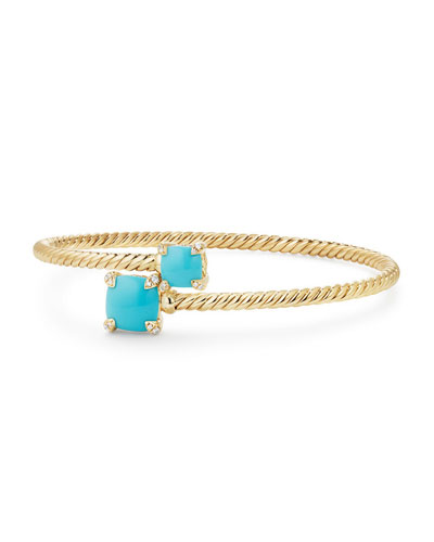 Châtelaine 14k Turquoise Bypass Bracelet, Size M