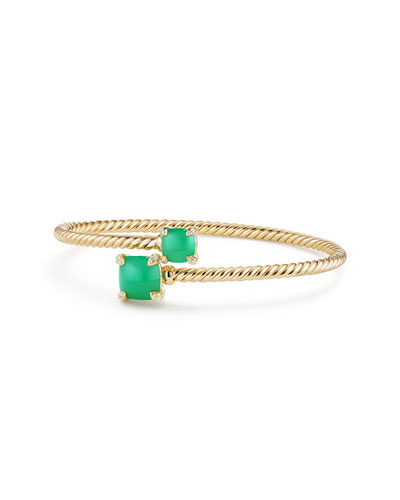 Medium Châtelaine 18K Gold Bypass Bracelet with Chrysoprase & Diamonds