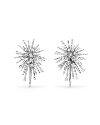 Supernova Diamond Climber Earrings in 18K White Gold