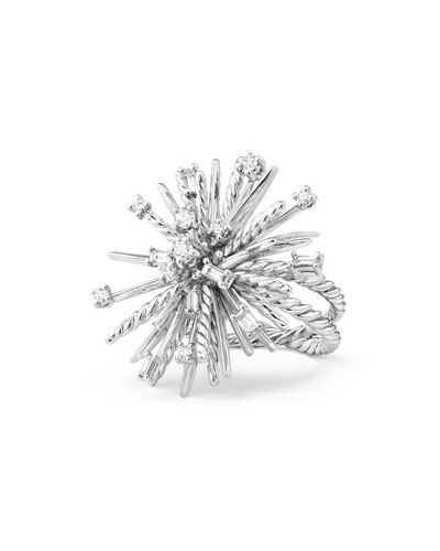 Supernova Mixed-Cut Diamond Spray Ring in 18K White Gold, Size 7