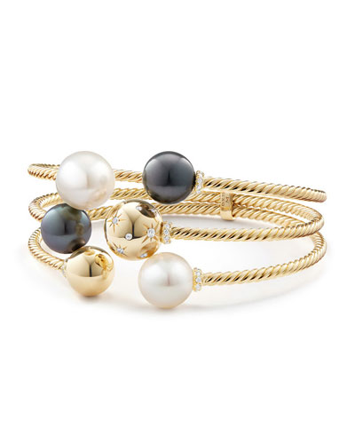 Solari Three-Row Pearl & Diamond Open Cable Bracelet