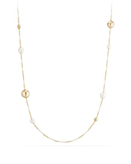 "David Yurman Solari Long 18K Gold Station Necklace with Pearls, 34"""