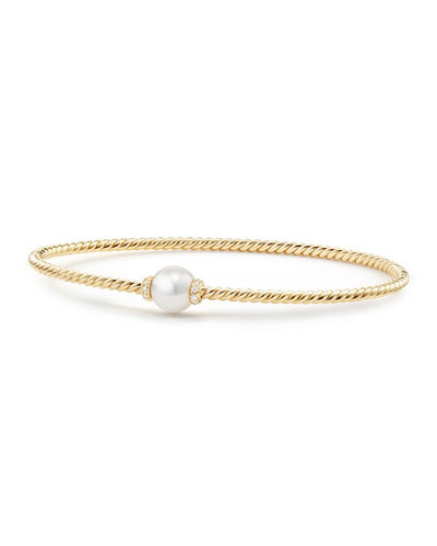 7mm Solari 18K Gold & Pearl Bracelet with Diamonds, Large