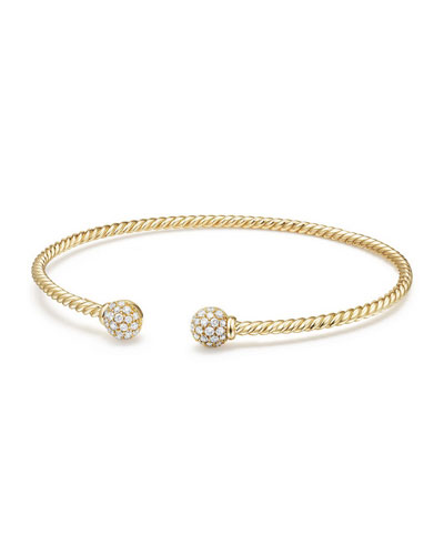 6mm Solari Pavé Diamond Open Cuff Bracelet, Large