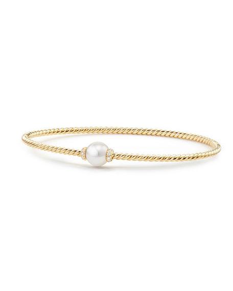 David Yurman 7mm Solari 18K Gold & Pearl Bracelet with Diamonds, Medium