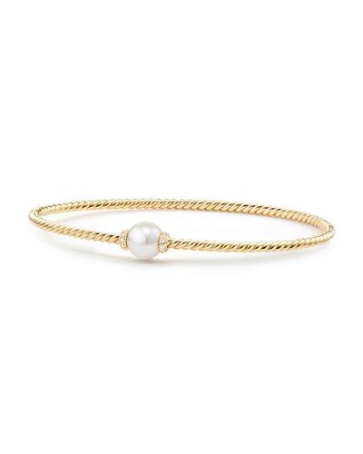 7mm Solari 18K Gold & Pearl Bracelet with Diamonds, Small