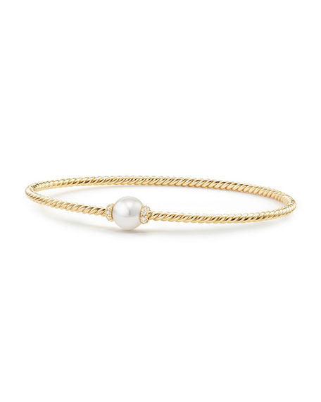 David Yurman 7mm Solari 18K Gold & Pearl Bracelet with Diamonds, Small