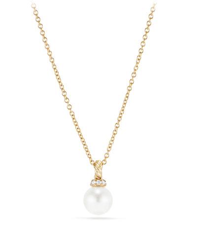 6mm Solari Pearl & Diamond Pendant Necklace