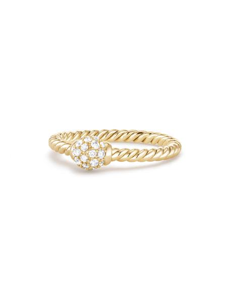 David Yurman 5mm Solari 18K Gold Diamond Station Ring, Size 7