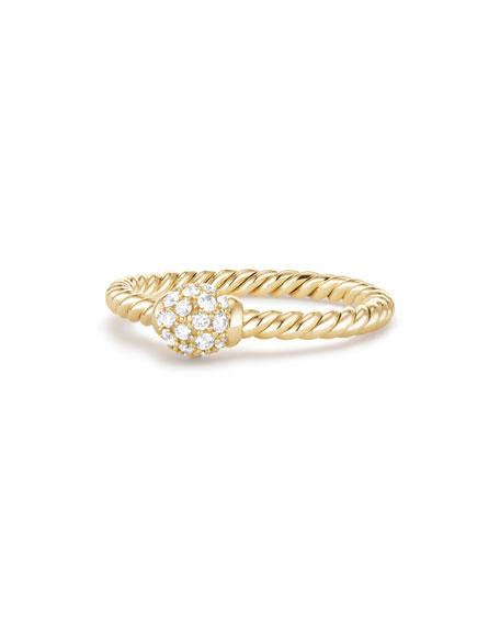 David Yurman 5mm Solari 18K Gold Diamond Station Ring, Size 8