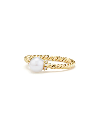 Solari Petite 18k Gold Pearl Station Ring with Diamonds, Size 8