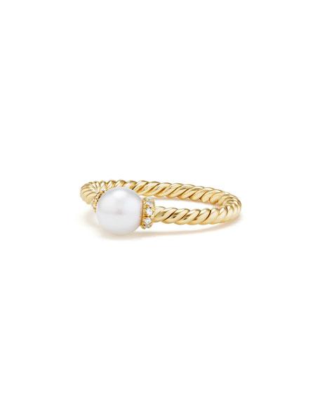 David Yurman Solari Petite 18k Gold Pearl Station Ring with Diamonds, Size 6