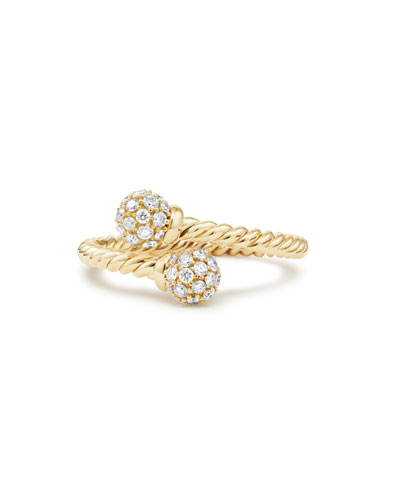 5.5mm Solari 18K Gold Bypass Ring with Diamonds, Size 7