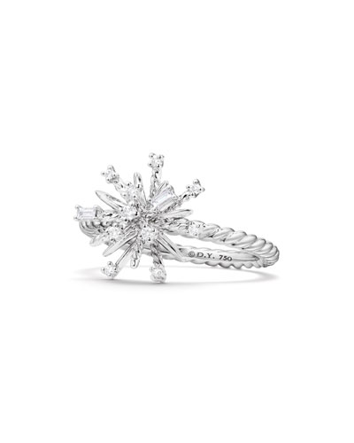 14mm Supernova 18K White Gold Ring with Diamonds, Size 7