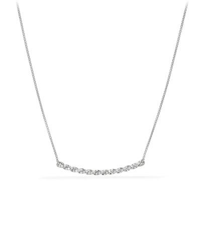 Petite Paveflex 18K White Gold Station Necklace with Diamonds