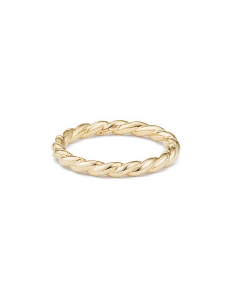 David Yurman Paveflex 2.7mm Band Ring in 18K Gold, Size 7