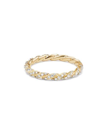 David Yurman Paveflex 2.7mm Ring with Diamonds in 18K Gold, Size 6