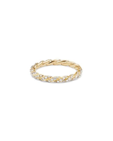David Yurman Paveflex 2.7mm Ring with Diamonds in 18K Gold, Size 7