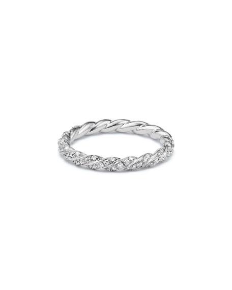 David Yurman Paveflex 2.7mm Ring with Diamonds in 18K White Gold, Size 6