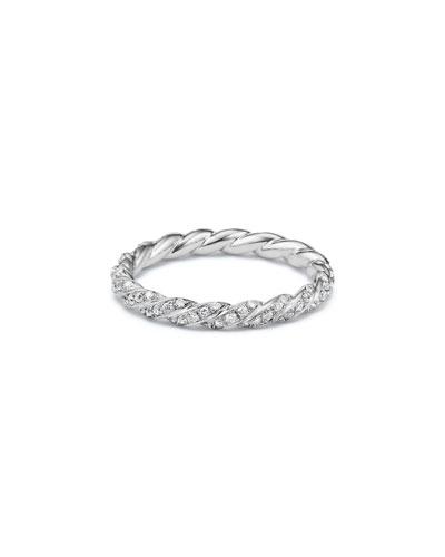 Vhernier 18K White Gold Plisse Ring with Diamonds, Size 8.5