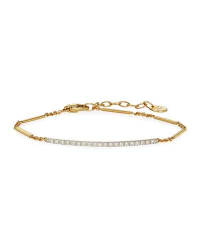 Goa 18K Hand-Engraved Gold Diamond Bar Bracelet