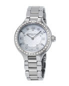 Stainless Steel Horological Smart Watch with Diamonds